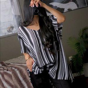 Torrid Striped Zipper Blouse Top Shirt